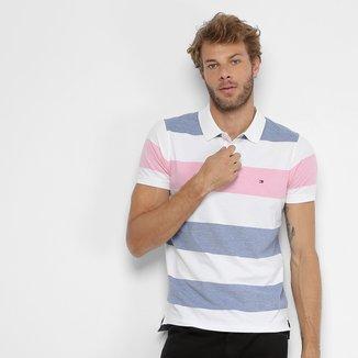 Camisa Polo Tommy Hilfiger Piquet Slim Listras Masculina
