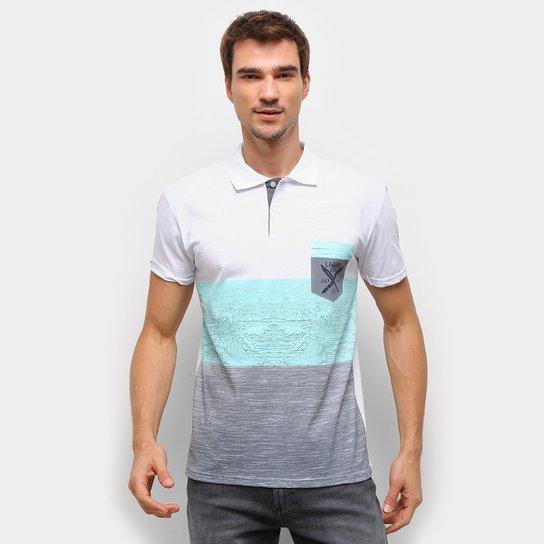 Camisa Polo Ultimato Bicolor Manga Curta Masculina - Branco