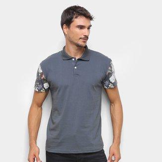 Camisa Polo Ultimato Meia Malha Detalhe Floral Masculina