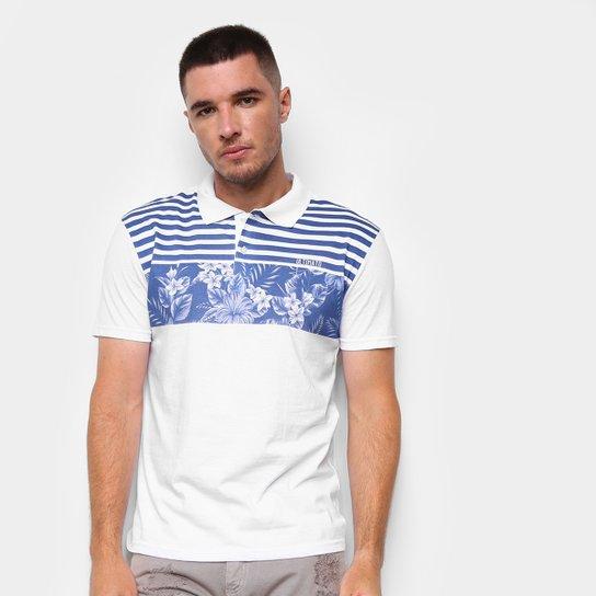 Camisa Polo Ultimato Meia Malha Estampada Masculina - Branco