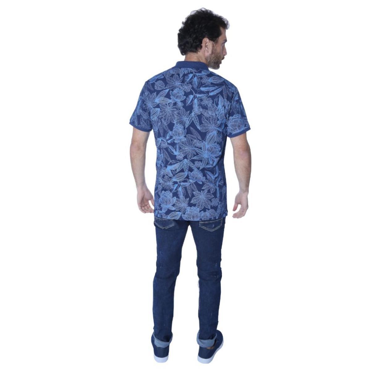 Camisa Polo Yacht Sport Full Print Flowers Masculina - Marinho