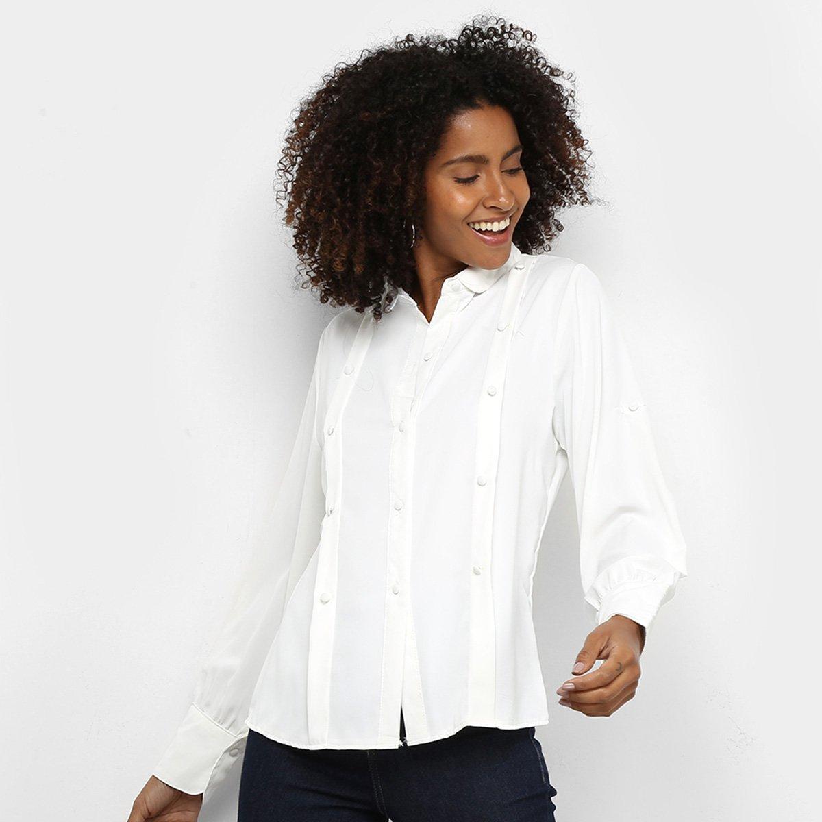 Camisa Road Mel Manga Longa Botões Feminina - Off White