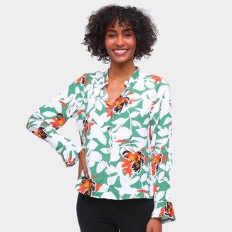 Camisa Road Mel Manga Longa Floral Feminina