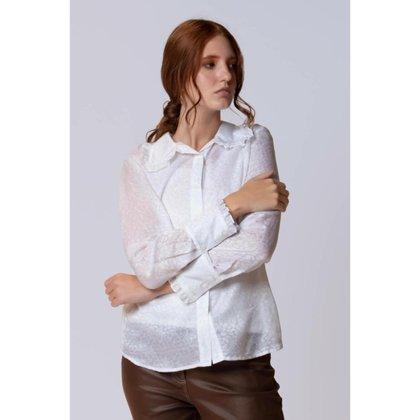 Camisa Sagena de MusselineDevorê Seda Off White 48 / Off White