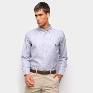 Camisa Social Aleatory C/ Bolso Manga Longa Masculina