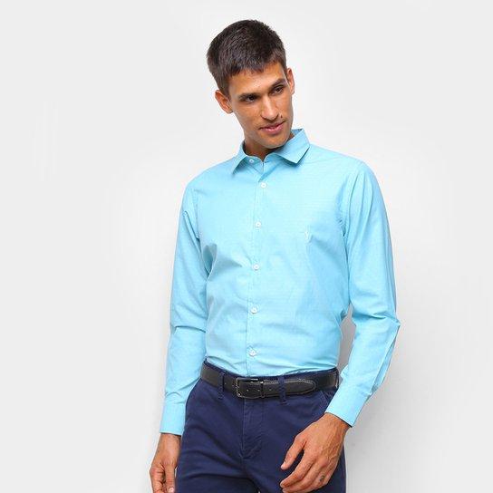 Camisa Social Aleatory Manga Longa Masculina - Azul