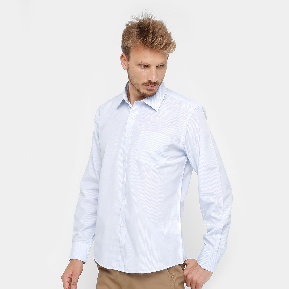 1fc656edd Camisa Social Blue Bay Manga Longa Bolso Masculina - Compre Agora ...