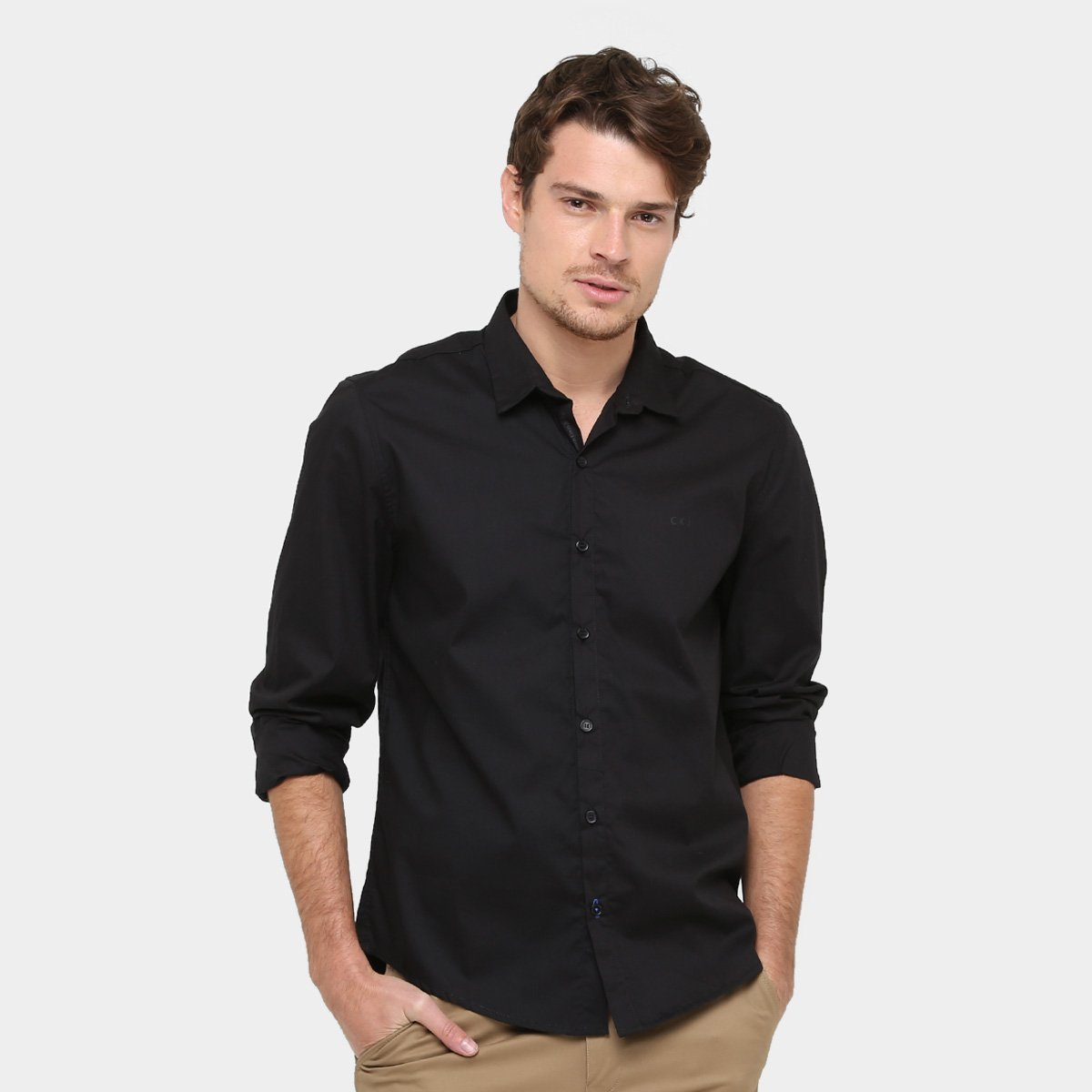 b475f41dc260f Camisa Social Calvin Klein Slim Fit Manga Longa Masculina - Compre ...