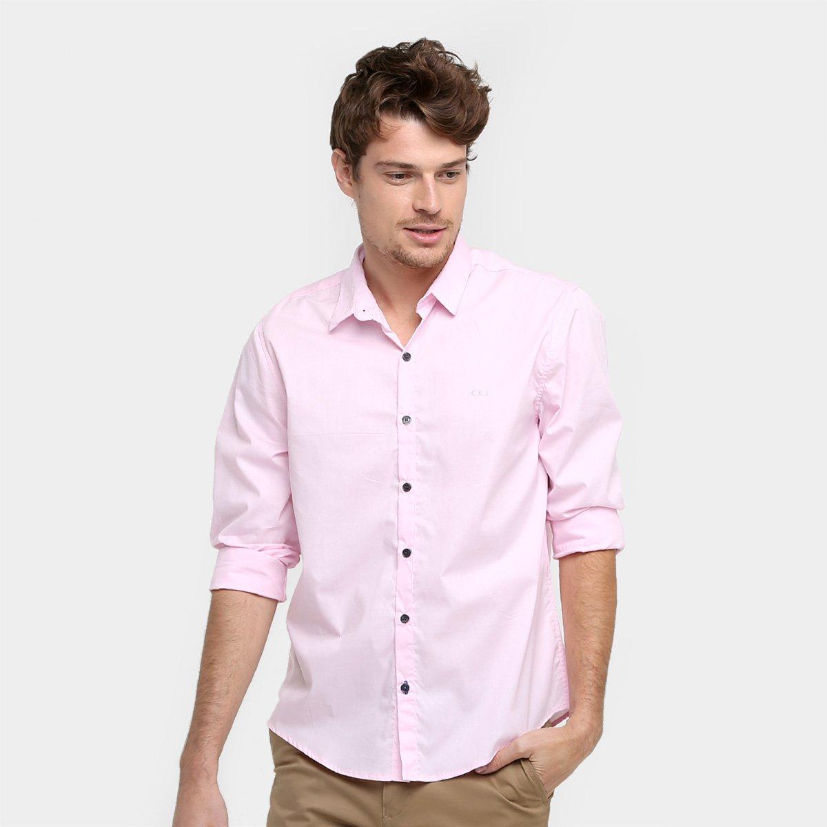 Camisa Social Calvin Klein Slim Fit Manga Longa Masculina - Compre ... b93a685c3d509