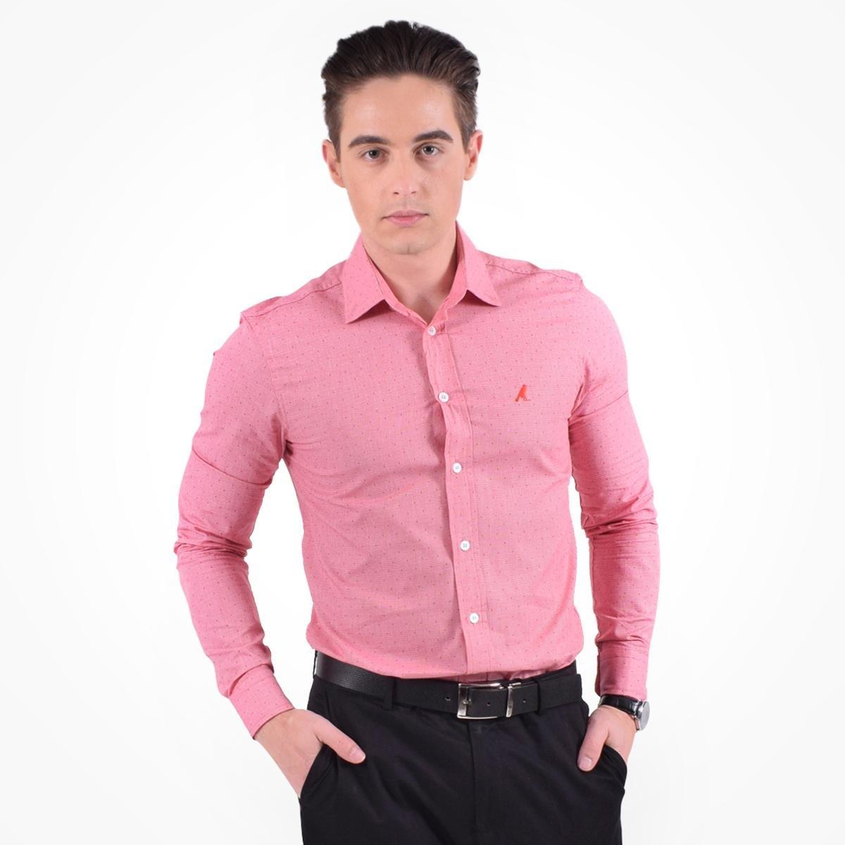 4cc28eac685ea Camisa Social Estampada Masculina - Slim - Rosa - Compre Agora   Zattini