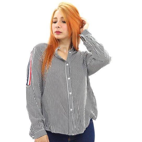 Camisa Social Feminina Viscose Listrada Manga Longa Botão - Preto