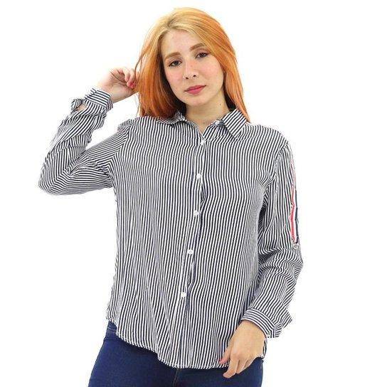 Camisa Social Feminina Viscose Listrada Manga Longa Botão - Azul Escuro