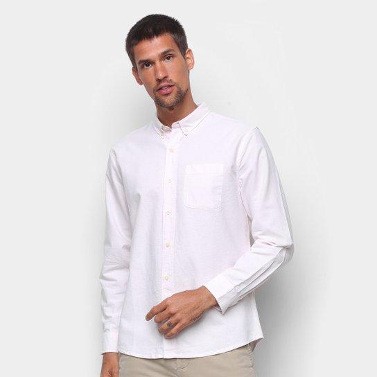 Camisa Social Hering Manga Longa Oxford Slim Masculina - Rosa+Branco