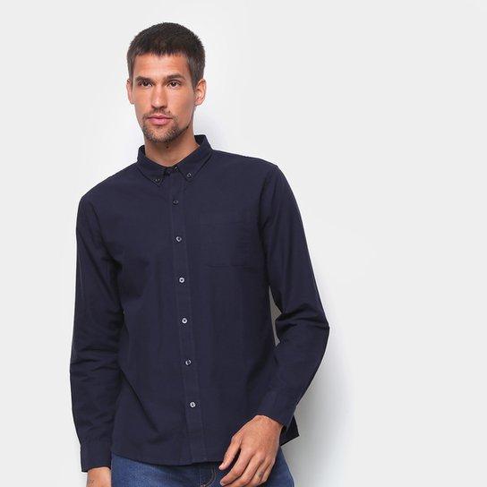 Camisa Social Hering Manga Longa Oxford Slim Masculina - Azul Escuro