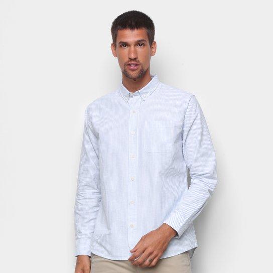 Camisa Social Hering Manga Longa Oxford Slim Masculina - Azul+Branco