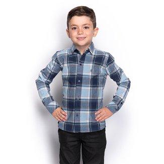 Camisa Social Infantil Menino Manga Longa Xadrez Casual