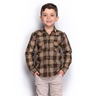 Camisa Social Infantil Menino Xadrez Manga Longa Casual