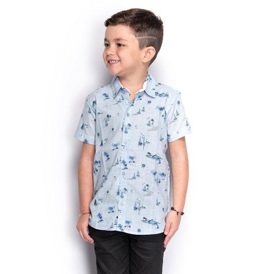 Camisa Social Juvenil Menino Manga Curta Estampada Casual - Azul Claro