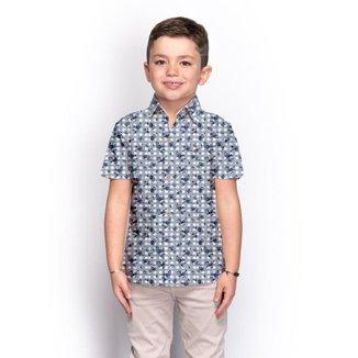 Camisa Social Juvenil Menino Manga Curta Floral Casual