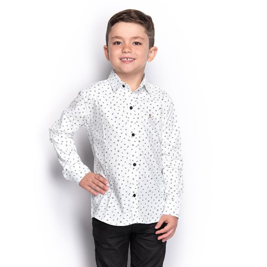 Camisa Social Juvenil Menino Manga Longa Naval Botão Casual - Branco+Preto
