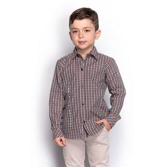 Camisa Social Juvenil Menino Manga Longa Xadrez Festa