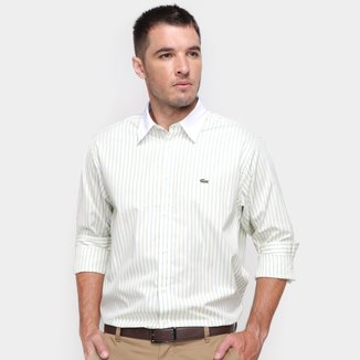 Camisa Social Lacoste Listrada Relaxed Fit Masculina