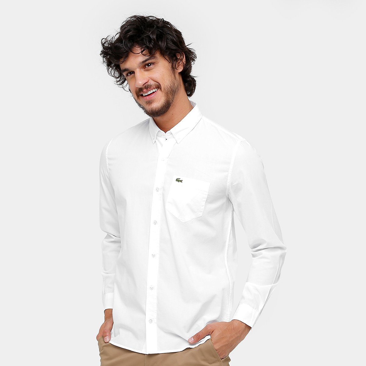 Camisa Social Lacoste Regular Fit Bolso Masculina - Compre Agora ... 62f4937a0f