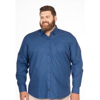 Camisa Social Longford Microxadrez Manga Longa Plus Size
