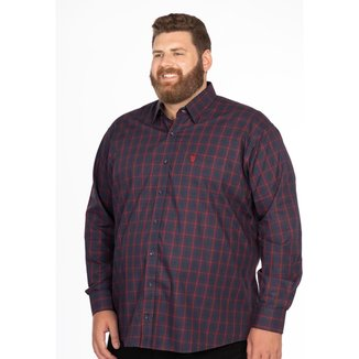Camisa Social Longford Xadrez Manga Longa Plus Size