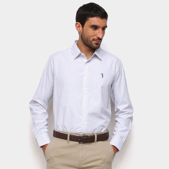 Camisa Social Manga Longa Aleatory Listrada Masculina - Branco