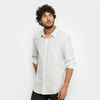 Camisa Social Manga Longa La Camizaria Listrada Com Bolso Masculina