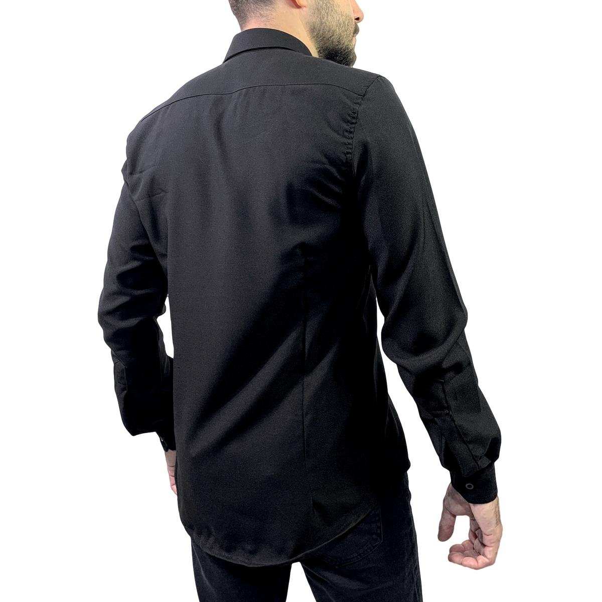 Camisa Social Manga Longa Slim Microfibra Vuzillo Masculina - Preto