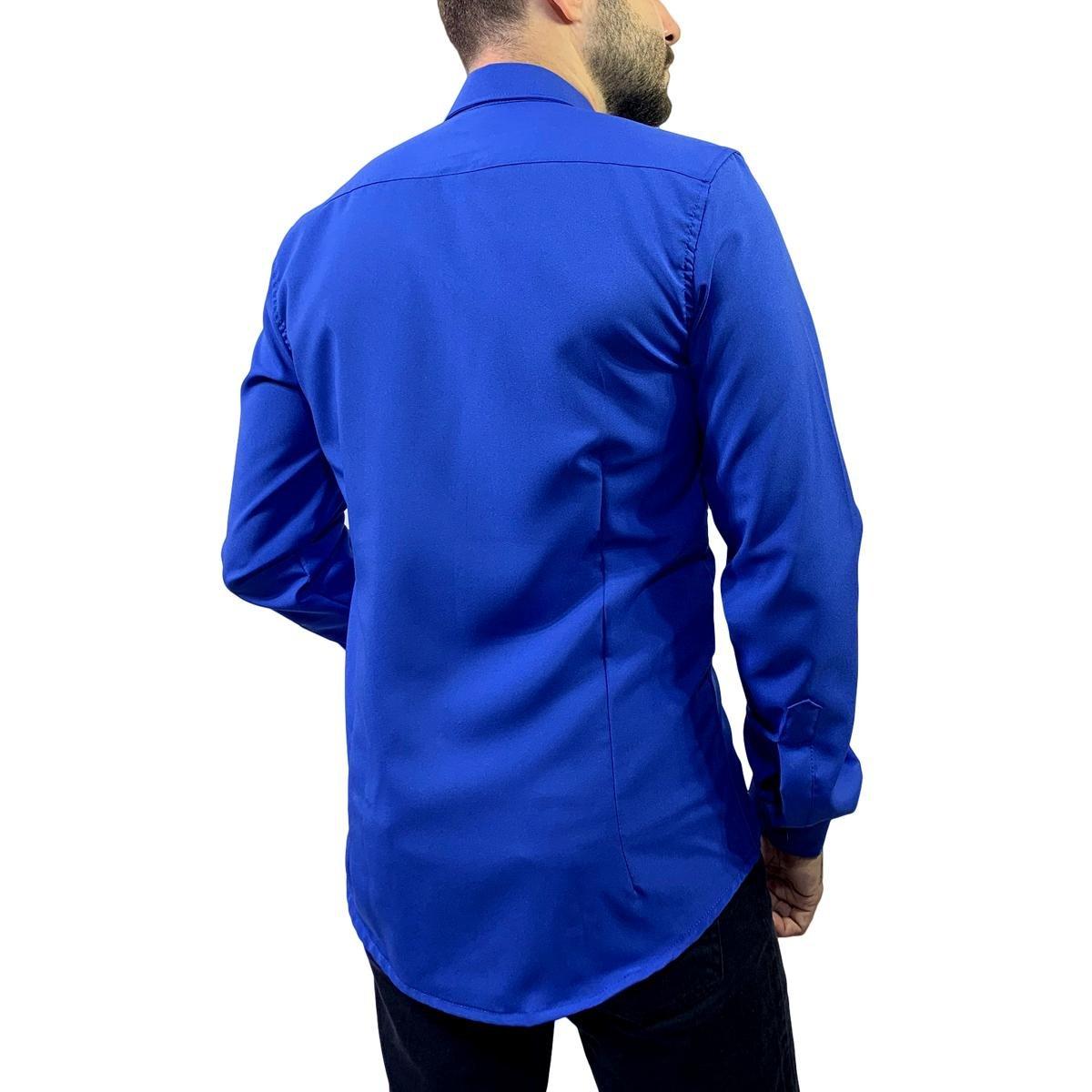 Camisa Social Manga Longa Slim Microfibra Vuzillo Masculina - Azul Royal