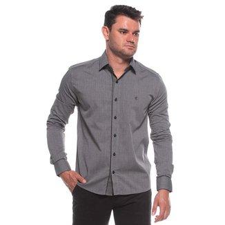 Camisa Social Manga Longa Slim Tecido Detalhe Clássica