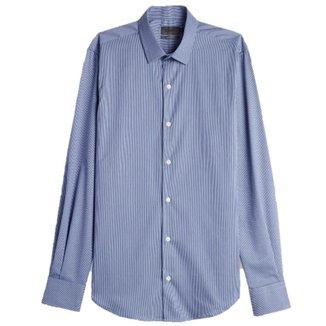 Camisa Social Masculina Listras Elastano Manga Longa Oficina