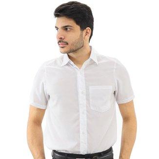 Camisa Social Masculina Manga Curta Lisa Com Bolso Casual