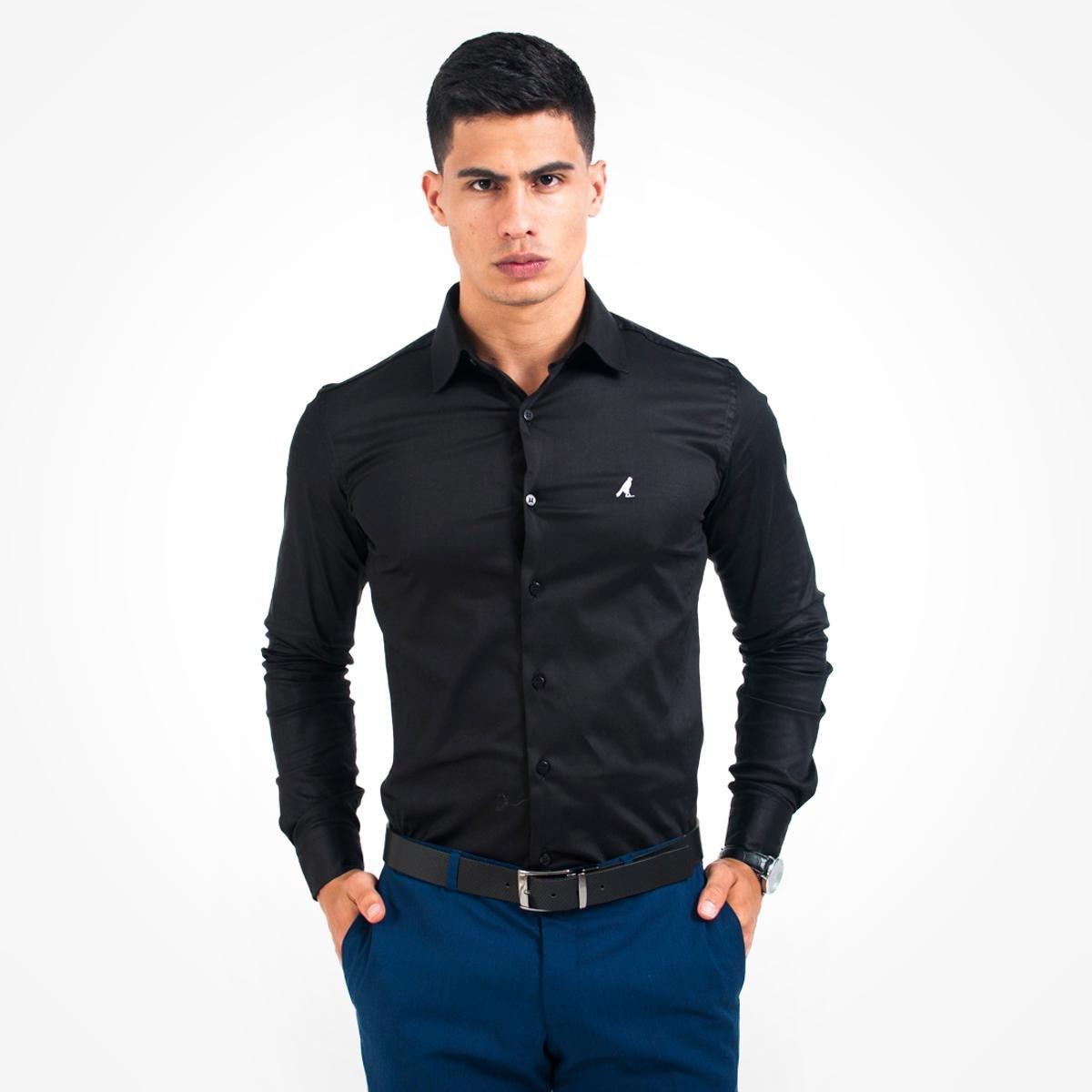 Camisa Social Masculina - Super Slim - Preto - Compre Agora   Zattini 0930de08d4