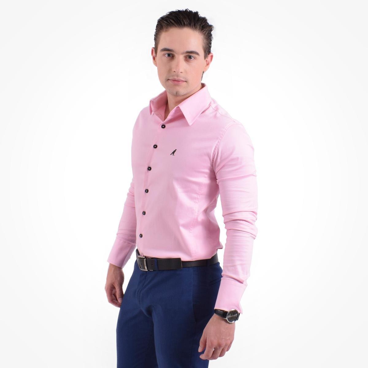 Camisa Social Masculina - Super Slim - Rosa - Compre Agora  d17f98ea80177
