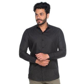 Camisa Social Masculina Teodoro ML Algodão Poá Casual