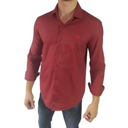 Camisa Social Oficial Flamengo Clipp Hat Trick Licenciado Masculina