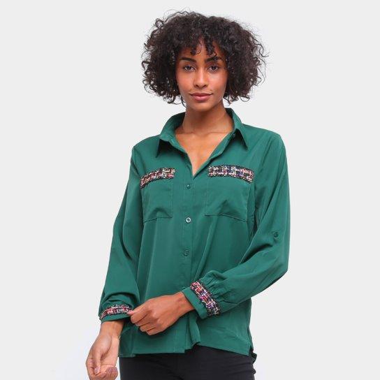 Camisa Social Road Mel Manga Longa Bordados Feminina - Verde