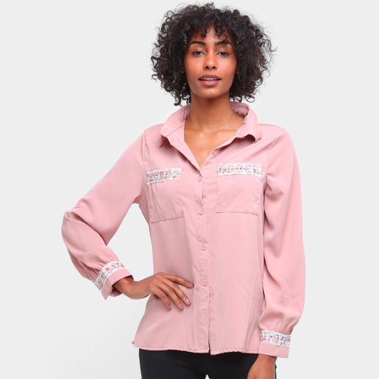 Camisa Social Road Mel Manga Longa Bordados Feminina - Rosa Claro