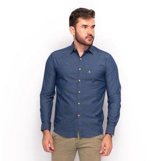 Camisa Social Teodoro Algodão Masculino Bolso Slim Casual