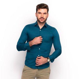 Camisa Social Teodoro Masculina Lisa Slim Festa Conforto