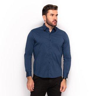 Camisa Social Teodoro Masculina Listrada Slim Casual