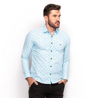 Camisa Social Teodoro Masculina Slim Estampada Slim Conforto
