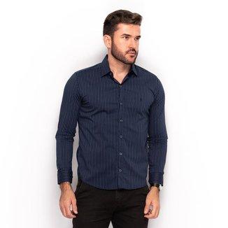 Camisa Social Teodoro Masculina Slim Listrada Casual