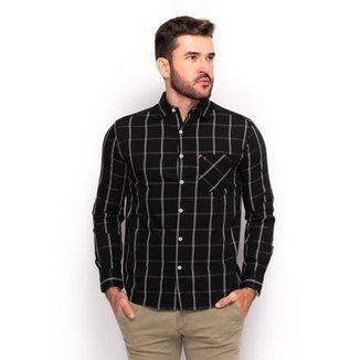 Camisa Social Teodoro Masculina Slim Xadrez Festa Conforto