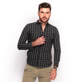 Camisa Social Teodoro Masculino Slim Xadrez Casual Conforto