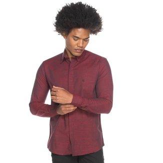 Camisa Social Teodoro ML Slim Fit Frente Embutida Casual